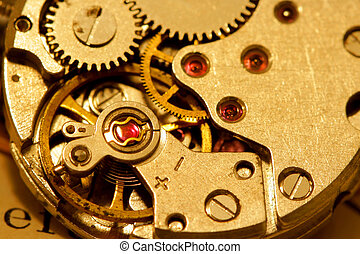 Watch mechanism - Macro shot of antique watch mechanism in...