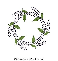 Round wreath  with bird cherry. Round frame.