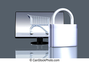 Secure online Shopping - 3D rendered Illustration. Note to...