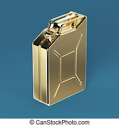 glossy golden jerry can fuel canister render isolated -...