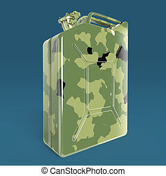 military camouflage metal jerry can fuel canister render...