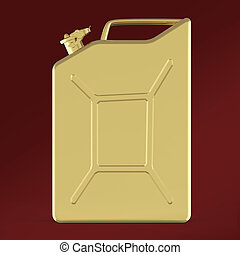 glossy golden jerry can fuel canisterrender isolated -...