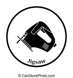 Icon of jigsaw icon Thin circle design Vector illustration...
