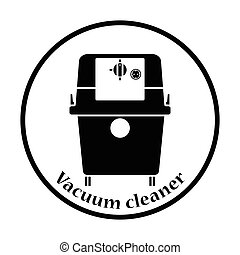 Icon of vacuum cleaner Thin circle design Vector...