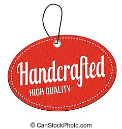 Handcrafted label or price tag - Handcrafted red leather...