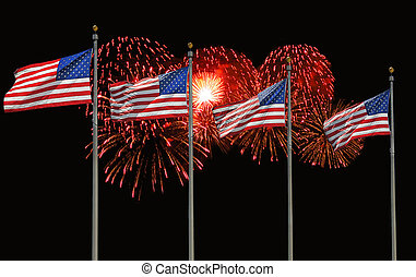 Four U.S. Flags and Fireworks