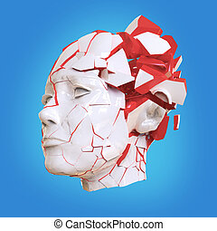 Glossy woman head exploding shuttered - Headache, mental problems, stress