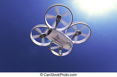 white quadrocopter drone in the sunny sky, high quality...
