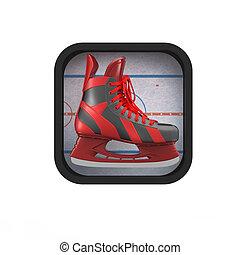 shiny realictic ice skate on stylized skating rink rounded...