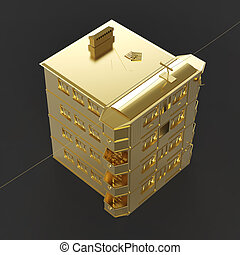Shiny golden house roof side view rendering isolated on dark background.