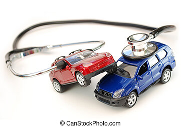 Car breakdown - Stethoscope around toy cars in a crash...