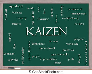 Kaizen, palavra, nuvem, conceito, ligado, Um, quadro-negro,