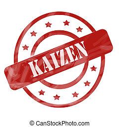 vermelho, resistido, Kaizen, selo, círculos, e, estrelas,