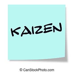 Kaizen, escrito, ligado, Um, azul, pegajoso, nota,