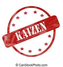 vermelho, resistido, Kaizen, selo, círculo, e,...