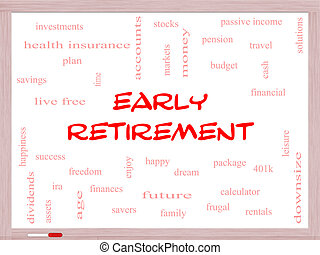 Early Retirement Word Cloud Concept on a Whiteboard