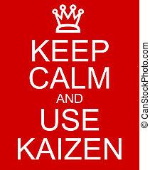 mantenha, pacata, e, uso, Kaizen, vermelho, sinal,