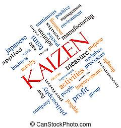 Kaizen, palavra, nuvem, conceito, angled,
