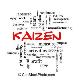 Kaizen, palavra, nuvem, conceito, em, vermelho, bonés,