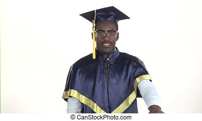 Graduate showing thumbs down White Slow motion Close up -...