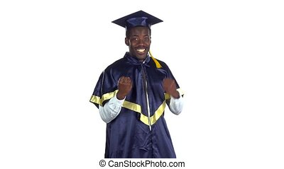 Graduate is happy and dancing White Slow motion - Man in the...