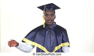Graduate waving hello White Slow motion Close up - Graduate...