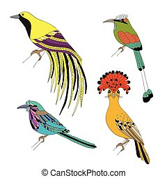 Set of tropical birds hand draw on a white background. - Set...