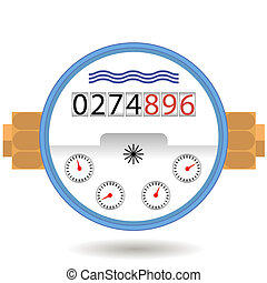 Water Meter Icon. Devise for Measuring Cosumption. - Water...