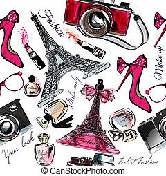 Wektor, seamless, Fason, tło, Z, Perfumy, Eifel, wieża,...
