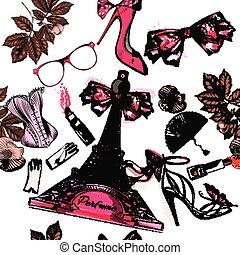 piękny, seamless, Fason, tło, Z, Perfumy, Eifel, wieża,...