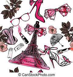 Vector seamless fashion background with perfume Eifel tower...