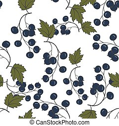 Seamless pattern with blackcurrant. Medicinal berry...