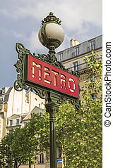 entry in the Paris metro - Decorative lantern and a pointer...