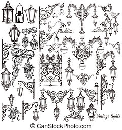 Vector set of calligraphic decorative elements and street...