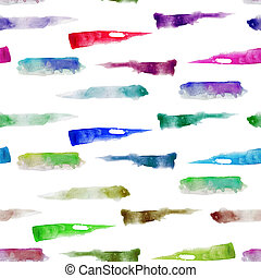 Watercolor brush strokes seamless pattern - Absract artistic...