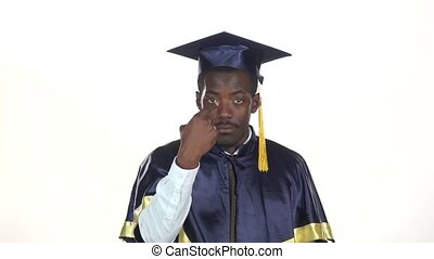 Graduate makes hand gestures White Slow motion Close up -...