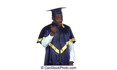 Graduate threatens with a finger Slow motion White -...