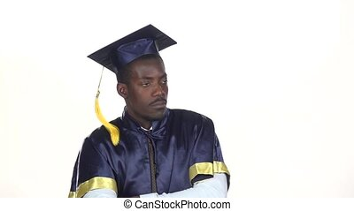 Student in the graduation form expresses refusal White Slow...