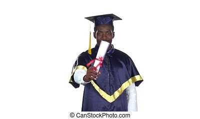 Student with graduation gown and diplom Slow motion White -...