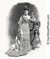 Vector engraving portrait of Duchess Marie of...