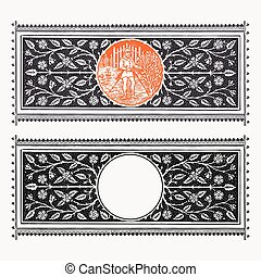 Vector engraving border with floral decorations and circular...