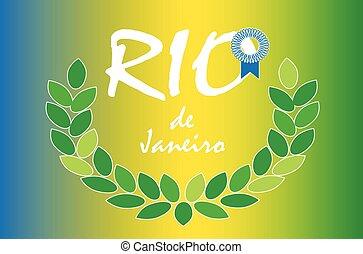 Rio de Janeiro vector background Rio award laurel wreath on...