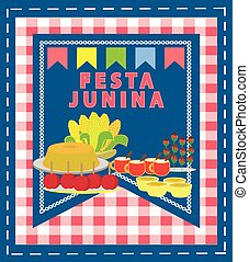 Festa Junina food vector. Brazilian country June feast....