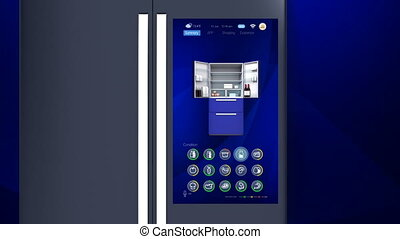 3D animation of smart refrigerator touch interface. User can...