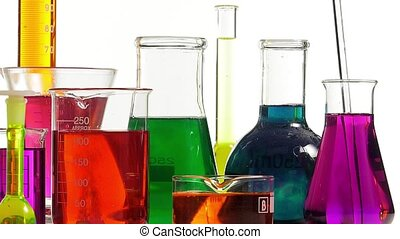 effervescence in several bottles - several laboratory...
