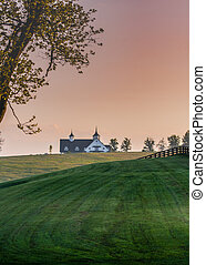 Manchester Farm Barn in the Early Morning