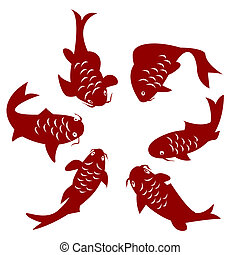 Koi fish - Koi carp silhouettes over white background