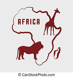 Africa design map shape icon animals illustration, vector...