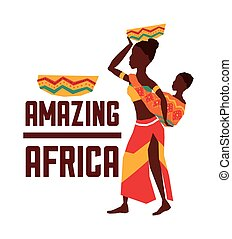 Africa design woman and baby icon, vector graphic - Africa...