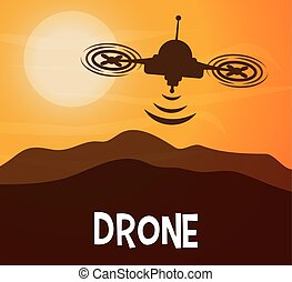 Helicopter drone design technology icon, vector graphic -...